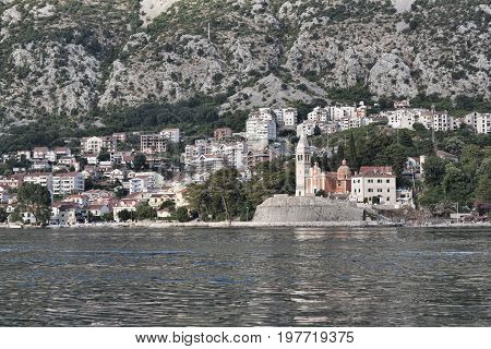 Small Town Dobrota On The Shore Of The Kotor Bay