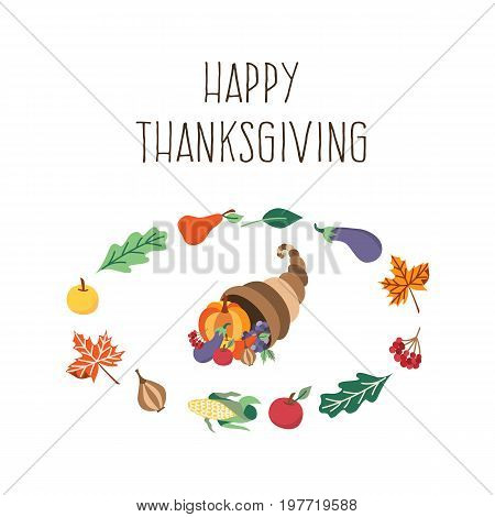 Vector thanksgiving set. Autumn, harvest and thanksgiving symbols - horn of planty, cornucopia in the template of vegetables and leaves. Flat illustration isolated on a white background.