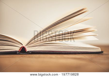 Close up opened book page with blurry background