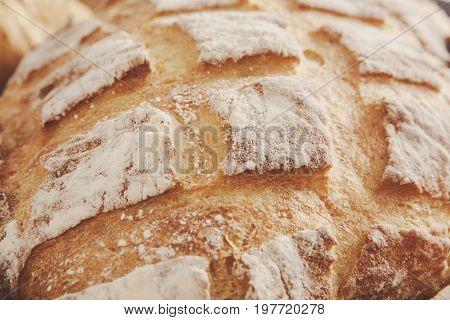 Bread texture crust closeup background, fresh baguette loaf