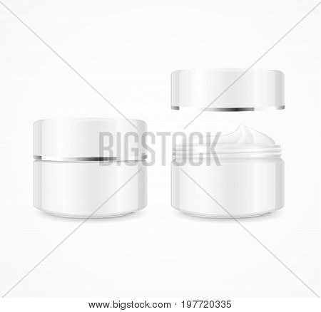 Realistic Cream Can Cosmetic Product Open and Close for Design Moisturizing Texture. Vector illustration