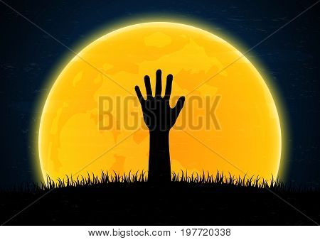 Halloween festival and celebration abstract background zombie hand emerge from grave soil with grass and moon vector illustration.