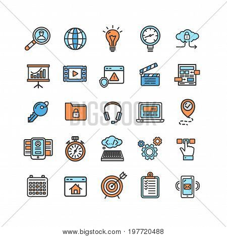 Search Engine Seo Color Thin Line Icon Set Monitoring and Support Content. Vector illustration