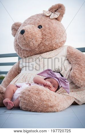 A shot of a cute baby girl with purple headband while sleeping and playing with big teddy bear on the rooftop /  Focus at infant girl