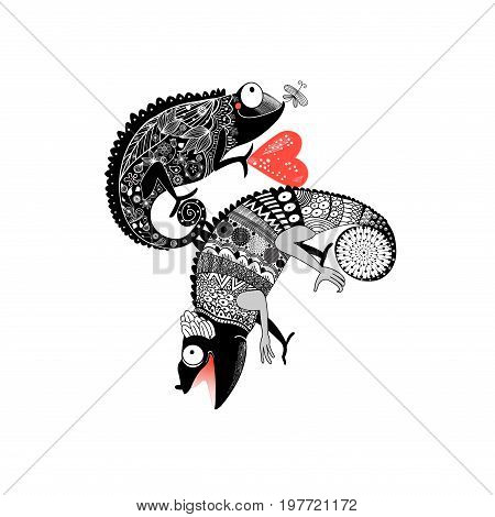 Vector drawing in love ornamental chameleon on white background
