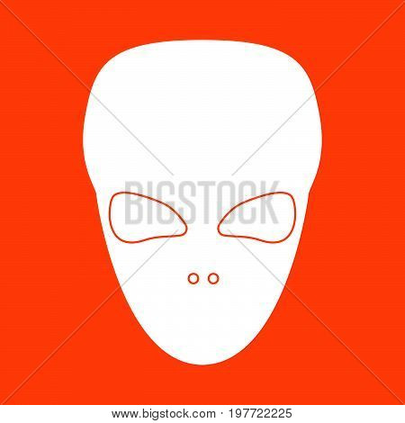 Extraterrestrial Alien Face Or Head White Icon .