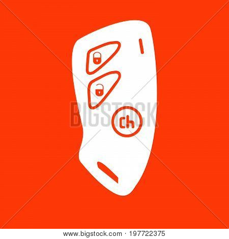 Car Key And Of The Alarm System White Icon .
