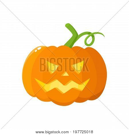 Jack o lantern, ripe orange pumpkin with carved scary face , traditional Halloween symbol, cartoon vector illustration isolated on a white background. Cartoon style Halloween pumpkin, jack o lantern