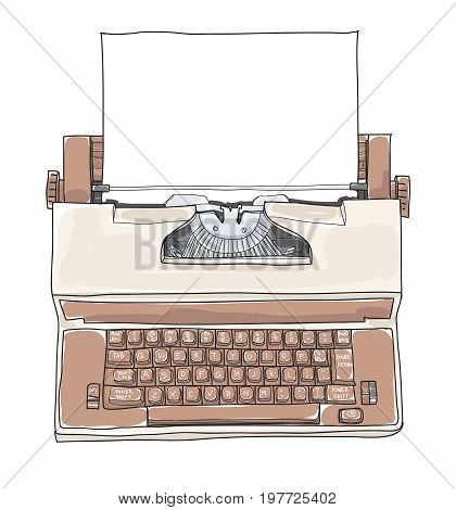 Brown Vintage Electric Typewriter Royal Academy Typewriter with paper hand drawn cute art vector illustration