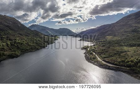 Aerial view of Loch Leven towards Glencoe, Lochaber, Scotland