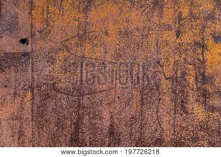 A rusty old metal plate. old metal iron rust texture.