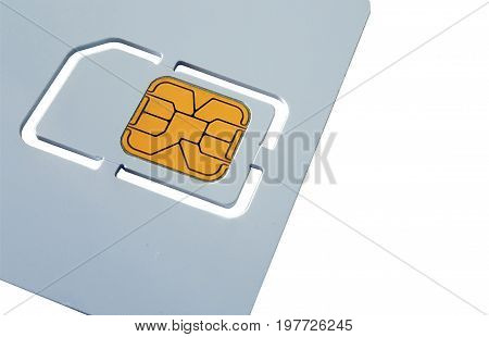 Blank sim card template isolated on white background.