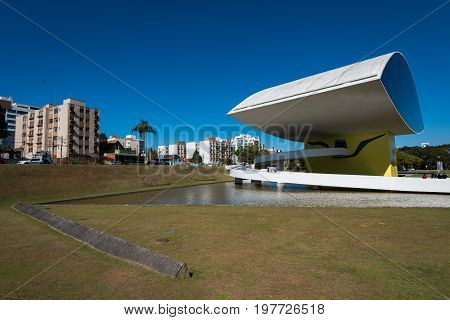 Curitiba, Brazil - July 21, 2017: Modern architecture Oscar Niemeyer Museum in Curitiba city is a famous spot for tourists.