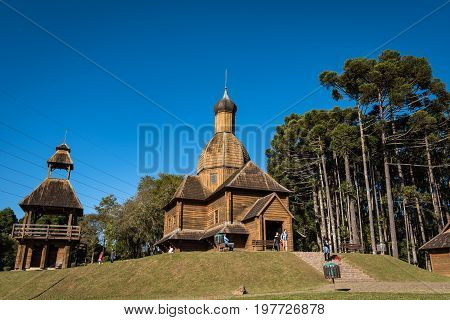 Curitiba, Brazil - July 21, 2017: Ukrainian Catholic Church is a tribute to European immigrants in Curitiba, and is located in Tingui Park, open for public as a museum and memorial.