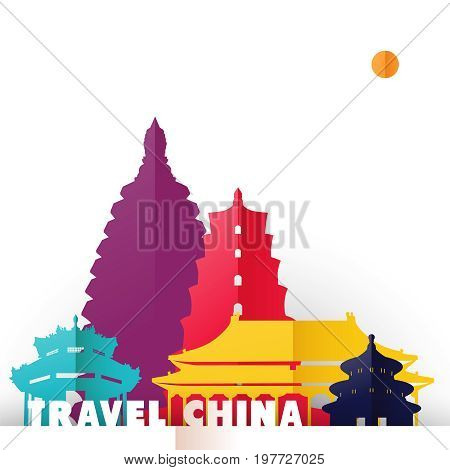 Travel China Paper Cut World Monuments