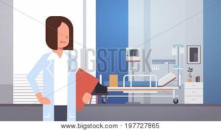 Woman Medical Doctor Clinics Hospital Interior Medicine Worker Flat Vector Illustration