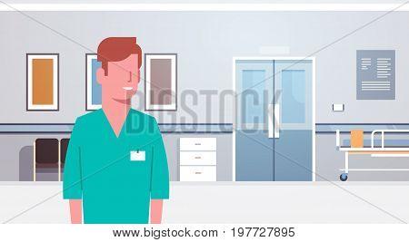 Man Medical Doctor Clinics Hospital Interior Medicine Worker Flat Vector Illustration