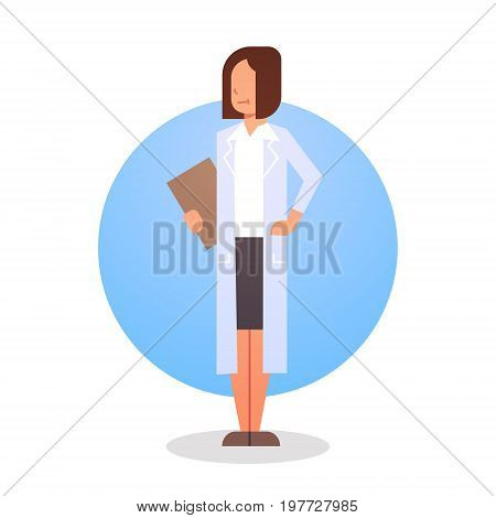 Woman Medical Doctor Icon Clinics Hospital Medicine Worker Flat Vector Illustration