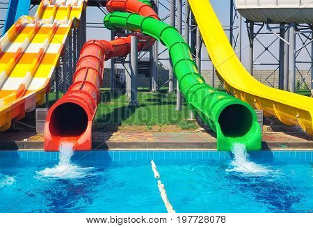 Aquapark sliders aqua park water park. Kirillovka Ukraine