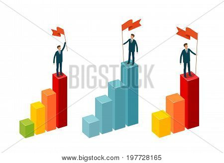 Businessman with flag stands on top. Business concept. Infographics vector illustration isolated on white background