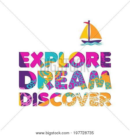 Summer Vacation Boat Travel Cutout Color Quote