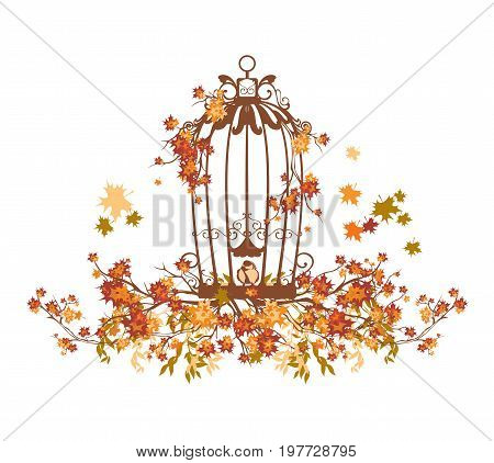 bird cage among autumn tree branches and falling leaves - seasonal vector design