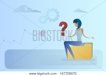 Business Woman With Question Mark Pondering Problem Concept Flat Vector Illustration