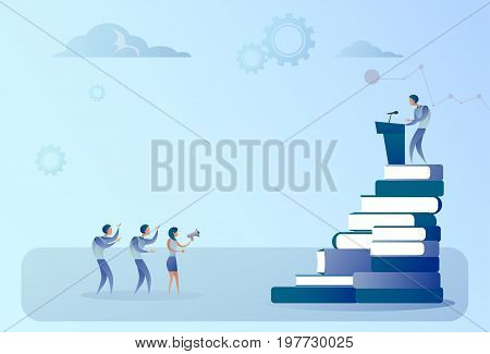 Business Man Leading Tribune Speech In Front Of Cheerful Business People, Group Conference Meeting Seminar Flat Vector Illustration