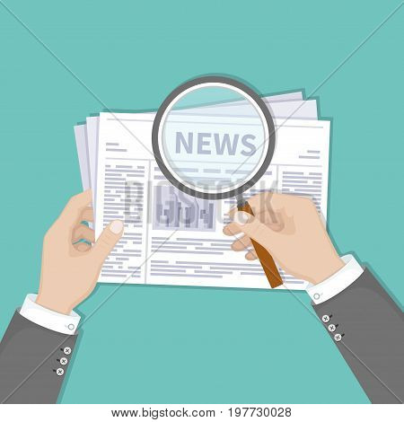 Hot latest news. Businessman hands holding magnifying glass over a newspaper with titles and photo. Top view. Vector illustration