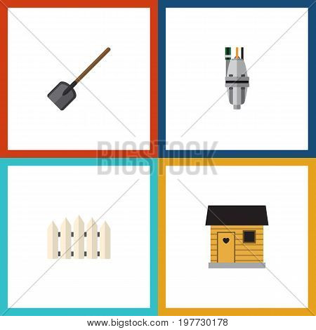 Flat Icon Garden Set Of Pump, Wooden Barrier, Shovel And Other Vector Objects