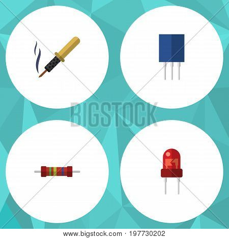 Flat Icon Device Set Of Recipient, Receptacle, Resistance And Other Vector Objects