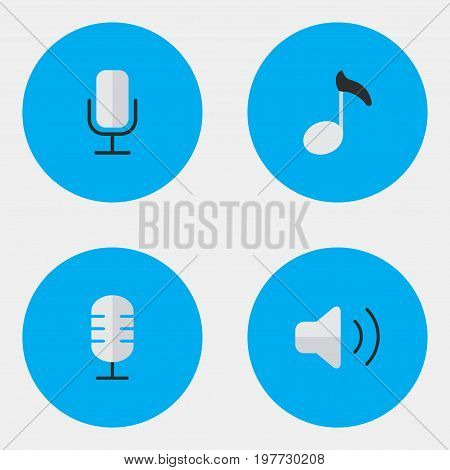 Elements Microphone, Note, Record And Other Synonyms Mic, Volume And Record.  Vector Illustration Set Of Simple  Icons.