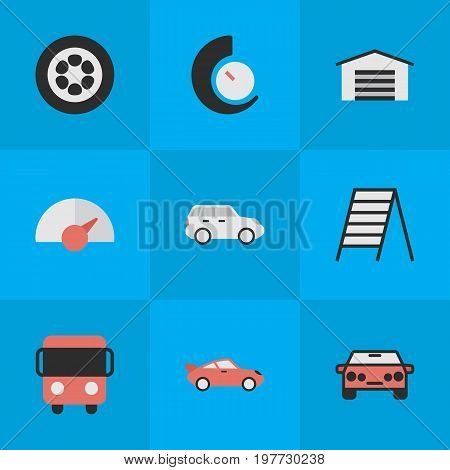Elements Speedometer, Autobus, Stairs And Other Synonyms Circle, Chronometer And Delivery.  Vector Illustration Set Of Simple Traffic Icons.
