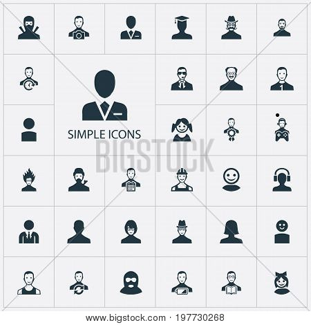 Elements Workman, Mysterious Man, Low Energy Character And Other Synonyms Mysterious, Photographer And Student.  Vector Illustration Set Of Simple Human Icons.