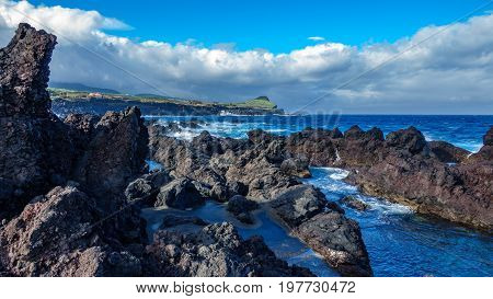Wide angle of volcanic coast in Biscoitos, Terceira, Azores, Portugal