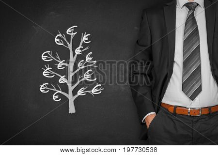Businessman with hands in passive gesture and tree with Euro (passive income concept).