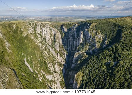 Panorama view of Turda Gorge - a natural reserve in Romania