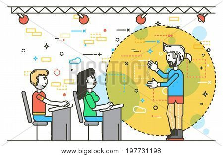 Vector illustration orator spokesman spokesperson speaker public appearance teacher institute businessman rhetor politician speech stage audience business presentation line art style white background
