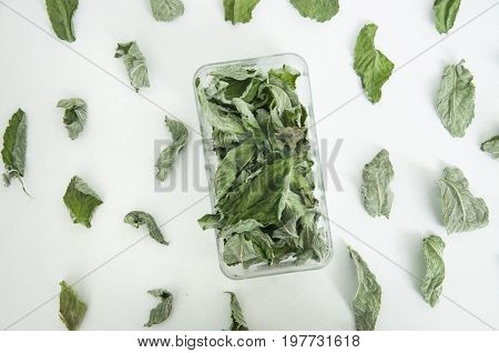 Dry green leaves of mint and melissa in a plastic box and on white background. Close up, top view.