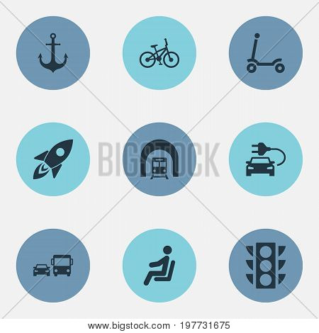 Elements Transport, Tunnel, Electric Vehicle And Other Synonyms Green, Vehicle And Light.  Vector Illustration Set Of Simple Shipment Icons.