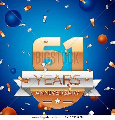 Realistic Sixty one Years Anniversary Celebration Design. Golden numbers and silver ribbon, confetti on blue background. Colorful Vector template elements for your birthday party