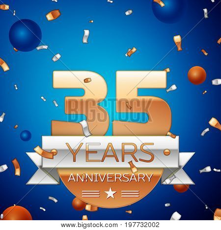 Realistic Thirty five Years Anniversary Celebration Design. Golden numbers and silver ribbon, confetti on blue background. Colorful Vector template elements for your birthday party. Anniversary ribbon