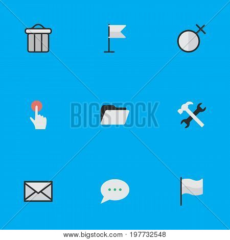 Elements Tools, Trashcan, Female And Other Synonyms Tools, Sign And Folder.  Vector Illustration Set Of Simple Design Icons.