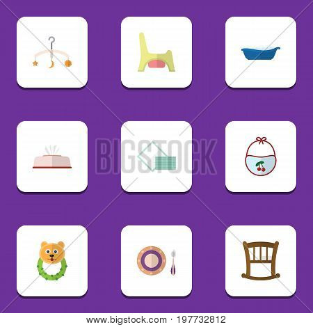 Flat Icon Infant Set Of Tissue, Pinafore, Napkin And Other Vector Objects
