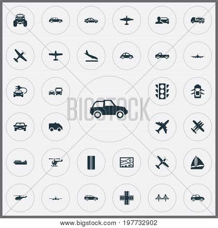 Elements Aero, Jeep, Downgrade And Other Synonyms Suspension, Monster And Truck.  Vector Illustration Set Of Simple Transport Icons.