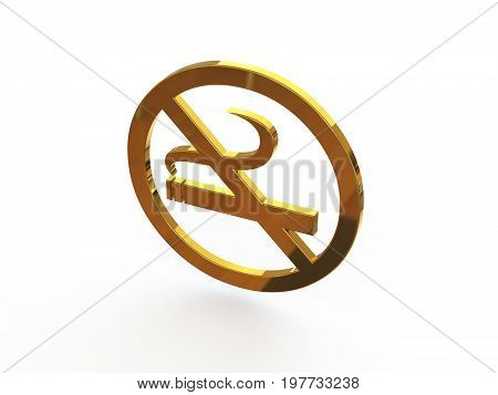 Sign - Smoking is prohibited. 3D illustration on isolated white background.