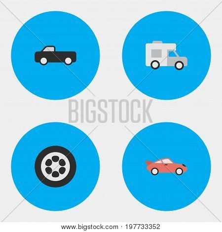 Elements Truck, Coupe, Van And Other Synonyms Sport, Coupe And Van.  Vector Illustration Set Of Simple Shipping Icons.