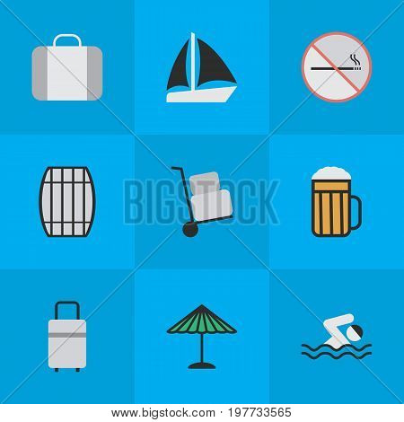 Elements Smoke Forbidden, Baggage, Cask And Other Synonyms Sea, Cargo And Bag.  Vector Illustration Set Of Simple Holiday Icons.