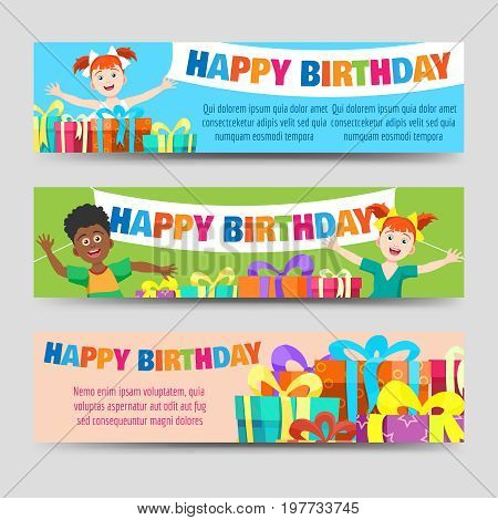 Birthday banners template with kids and gifts, vector illustration
