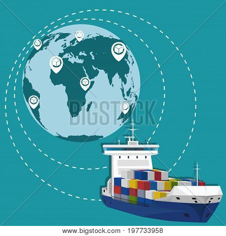 Global network of maritime shipping and commercial transportation. International worldwide logistic company vector illustration..
